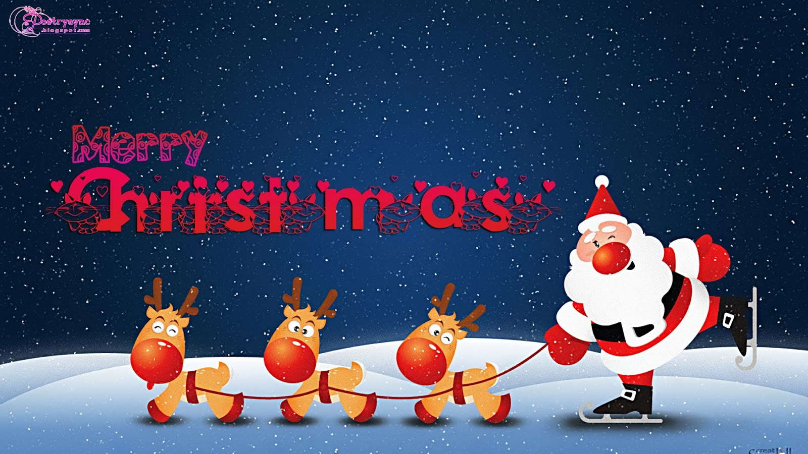 Merry Christmas Wishes With Santa And Deers Cute Cartoon For Kids Claus Hd Wallpaper