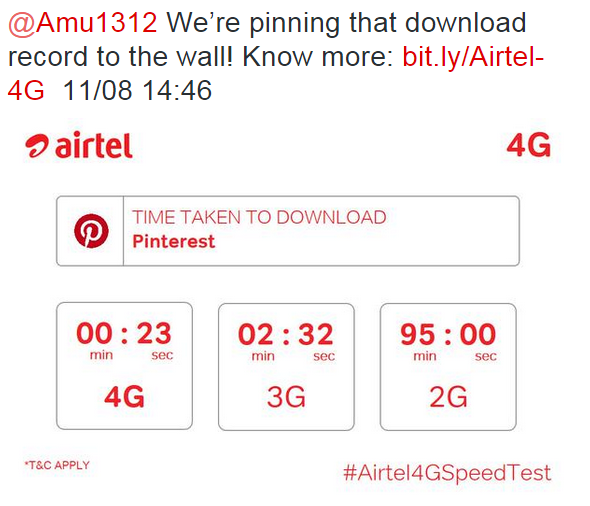 airtel India on Twitter    Amu1312 We're pinning that download record to the wall  Know more  http   t.co SqBNdroGHh 11 08 14 46 http   t.co P4dJMvmIxD